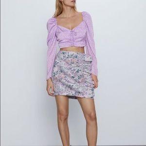 ZARA Jacquard Floral Asymmetric Ruffle Mini Skirt